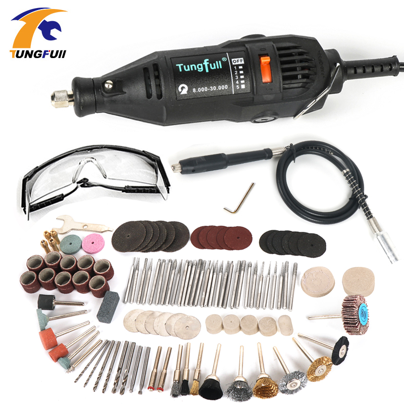 220V Electric Mini Drill For Dremel Rotary Tool Variable Speed Mini Drill with Flexible Shaft and 106pcs Dremel Accessories tasp 220v 130w electric dremel rotary tool variable speed mini drill with flexible shaft and 175pc accessories storage bag