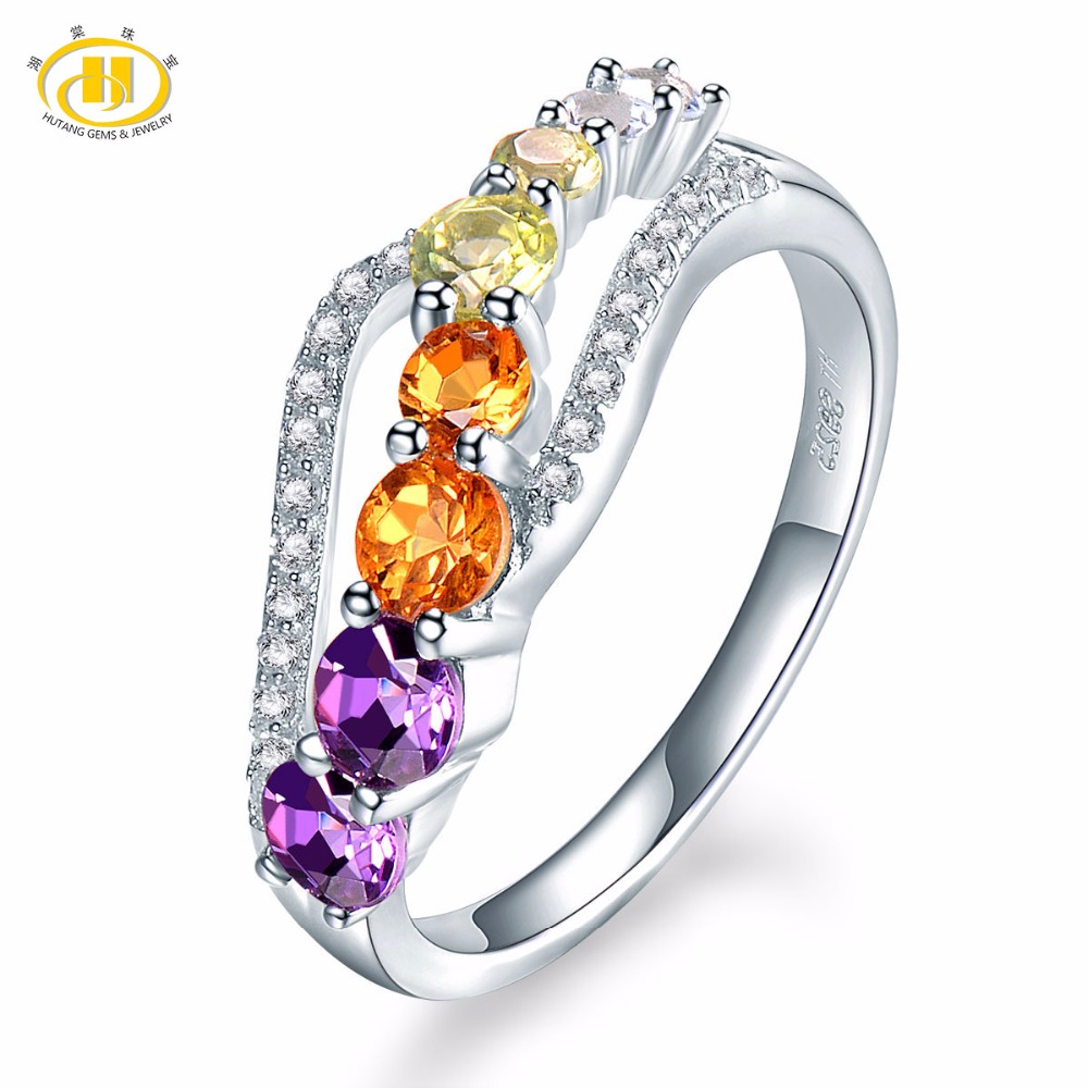 Hutang Natural Gradation Color Gemstone Citrine Amethyst Topaz Solid 925 Sterling Silver Flower Ring Fine Jewelry presents Gift