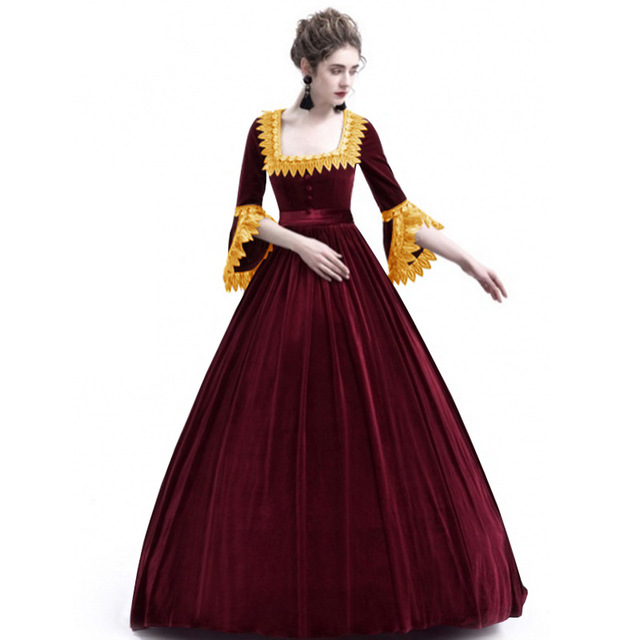 62929b5cd76 Dresses Medieval Dress Palace Princess Long Dress Adults Women Bustle 2018  Winter Plus Size Lace Fancy Party Helloween Costume