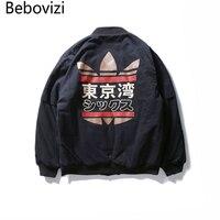 New Arrivals Japanese Street Skateboard Style Jacket Fashion Male Cotton Zipper Tokyo Bay Print Baseball Jacket