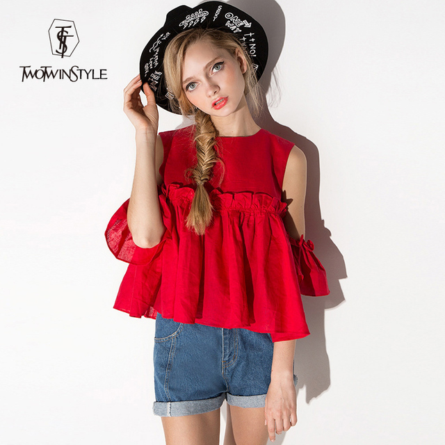 [TWOTWINSTYLE] 2017 Sweet Pleated Ruffles Off Shoulder Tops Summer Short-sleeved Round Collar T-shirt Women Plus Size XXL New
