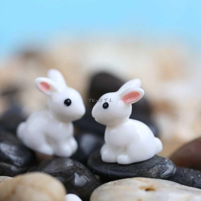 حديقة زخرفة الأبيض أرنب تمثال راتنج الحرفية وعاء النبات الجنية DIY ديكور