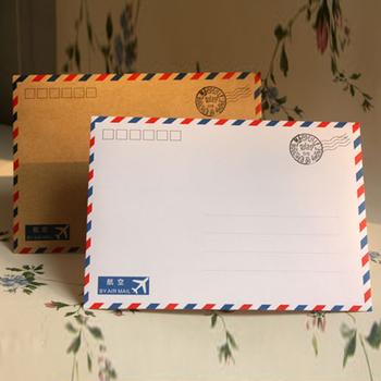 Nowy biały Kraft zwięzłe stałe air-mail koperta z papieru pakowego koperty 523 tanie i dobre opinie 17 5*12 5cm Biznes koperta Okna koperty black white