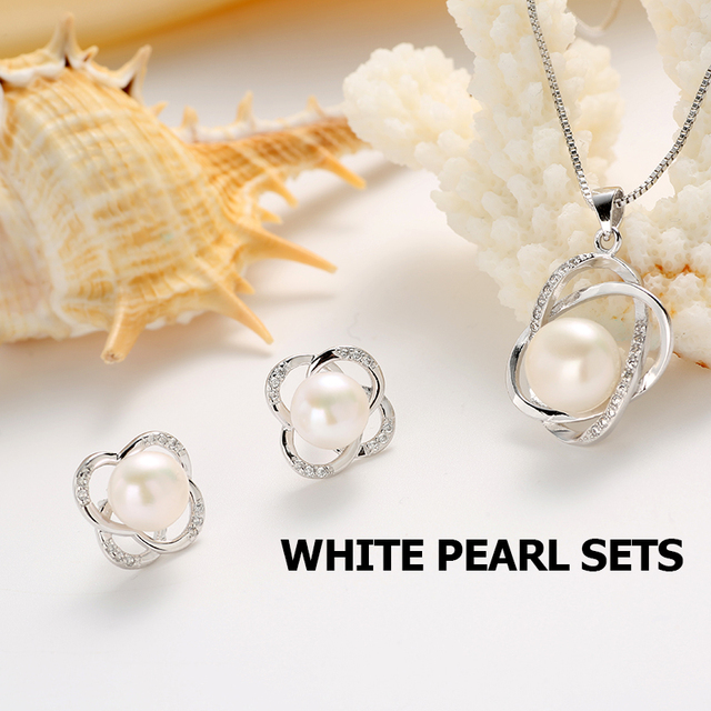 Pearl Earrings & Pendant Necklace Set