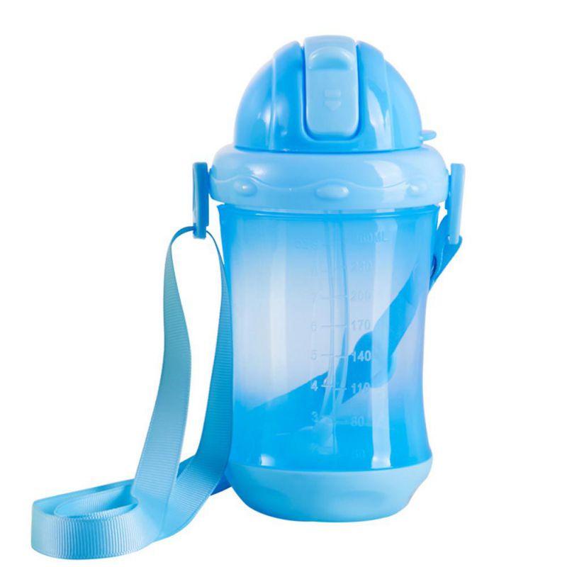 baby Bottles Eco-friendly PP Kid cups Cute Kids Children Learn Feeding Drinking Water Straw Handle Bottle
