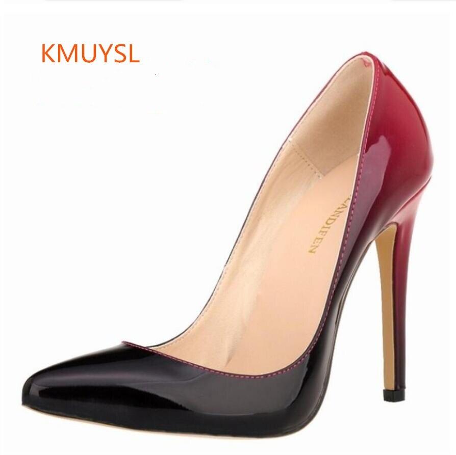 2016 plusz méret 34-42 szexi hegyes lábujj színátmenet kétszínű sekély száj magas sarkú Vintage szexi női cipő