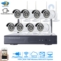 8CH 720P FULL HD Wireless NVR Kit WIFI CCTV System Outdoor Waterproof P2P 8PCS 1MP IP