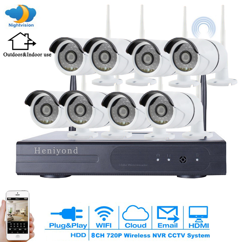 8CH 720P FULL HD Wireless NVR Kit WIFI CCTV System Outdoor Waterproof P2P 8PCS 1MP IP Camera Security Surveillance Set arsecut wireless nvr kit 8ch 1080p full hd wifi cctv system 8pcs outdoor waterproof 2mp ip camera security surveillance set