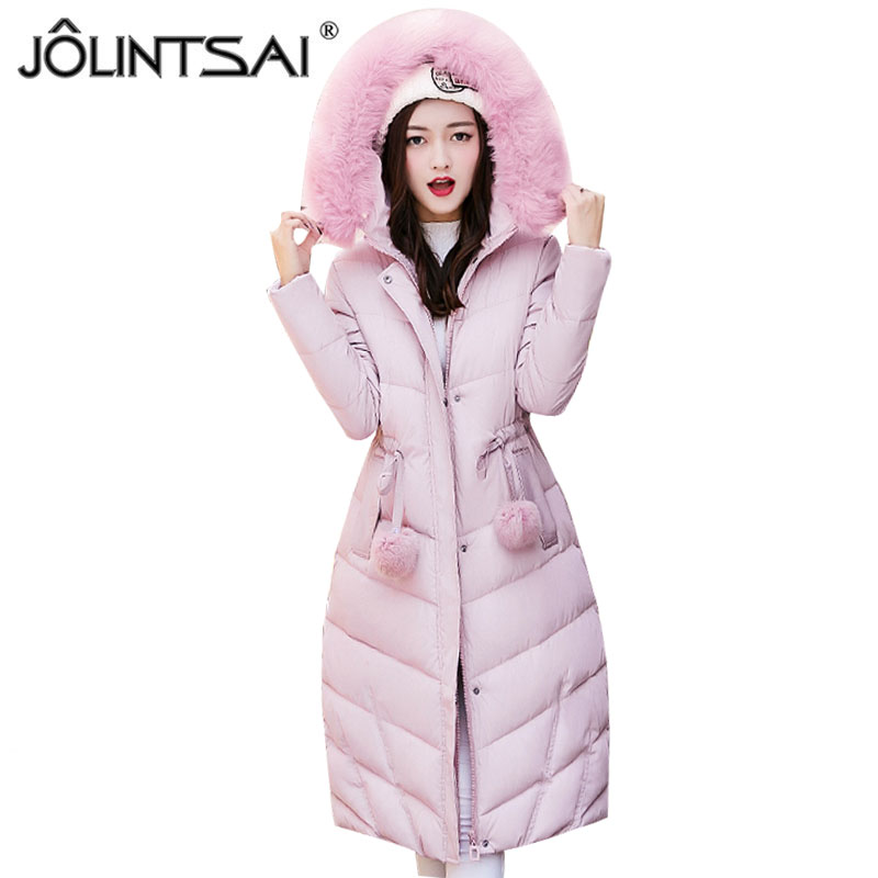 JOLINTSAI Winter Parkas Jackets 2017 Women Coat Casual Wadded Cotton-padded Long Winter Jacket Women Hooded Coats Outwear jolintsai winter jacket women mid long hooded parkas mujer thick cotton padded coats casual slim winter coat women