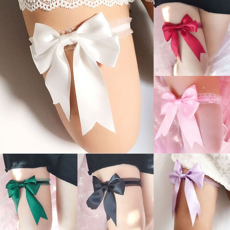 1Pc Women Bridal Solid Color Lace Elastic Thigh Rings Big Ribbon Bowknot Wedding Dress Leg Garter Cosplay Underwear Arm Bracelet