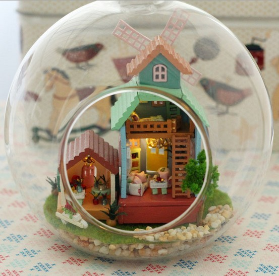 B007 Wind fantasy glass ball DIY house dollhouse miniature With voice-activated LED lights free shipping