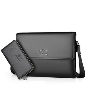 Image 3 - Bolsa de Ombro negócio Saco Dos Homens Messenger Marca canguru Crossbody bag para o sexo masculino Moda Casual Homem do vintage de Couro PU Bolsas