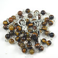 Fashion tiger eye round bead catholic rosary necklace