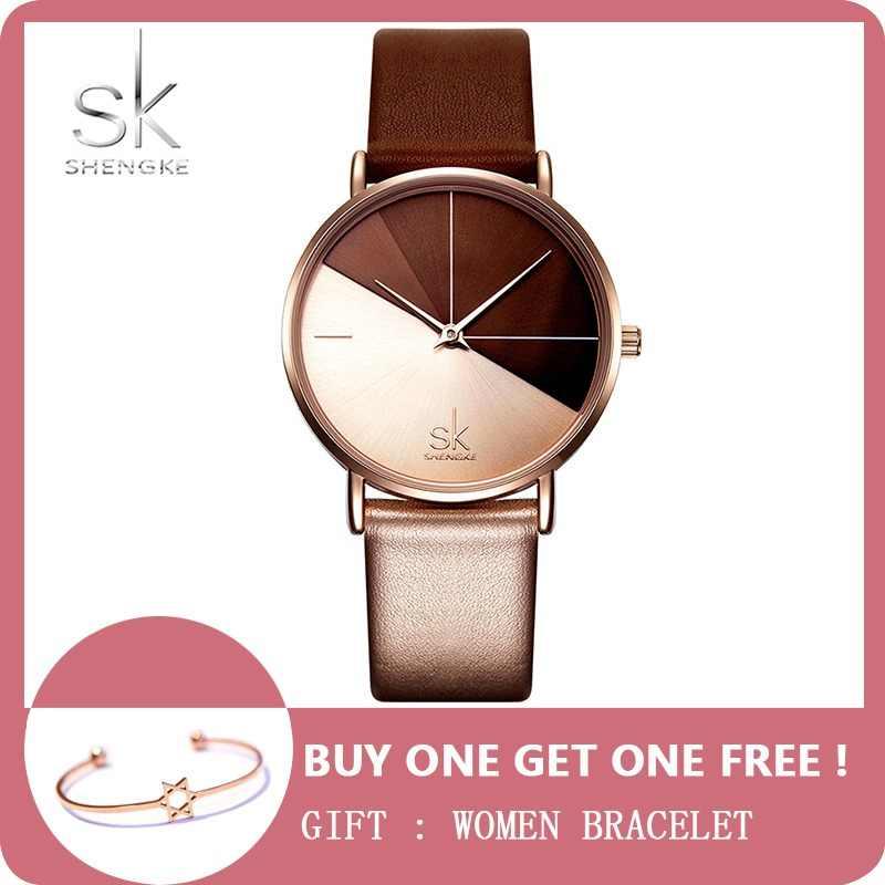 14c6c06df3d SK Luxury Leather Watches Women Creative Fashion Quartz Watches For Reloj  Mujer 2018 Ladies Wrist Watch