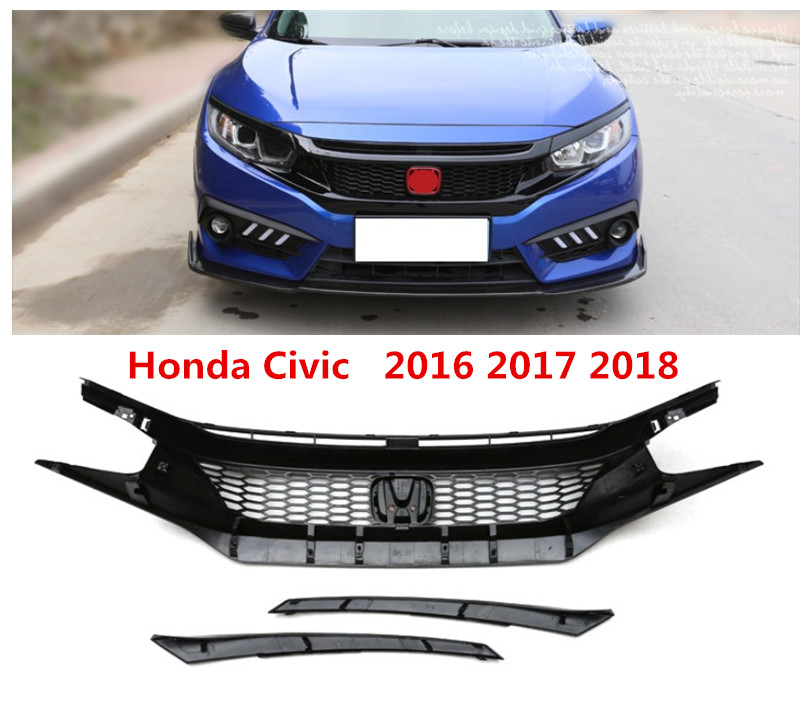 For Honda Civic 2016 2017 2018 Front Grille Racing Grills High Quality ABS BLACK GTR Style Auto Accessories