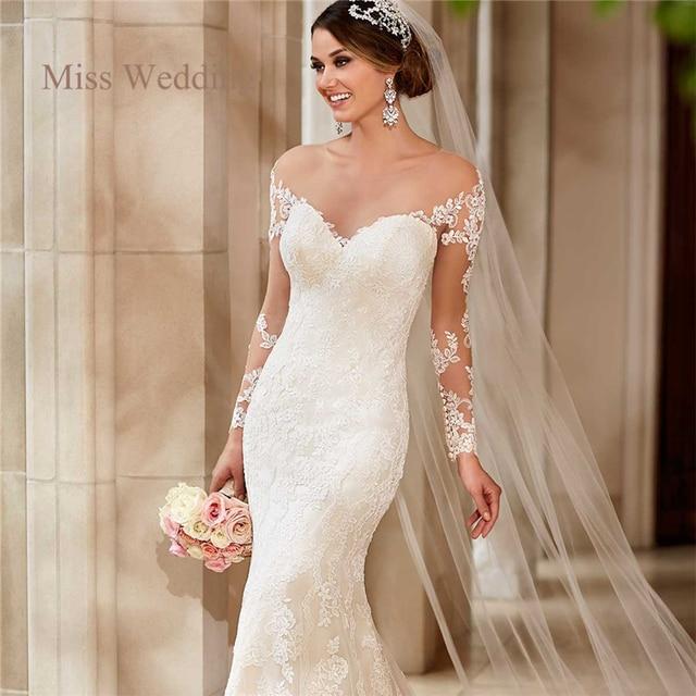 Langarm Spitze Hochzeitskleid Vintage Style White Ivory Liebsten