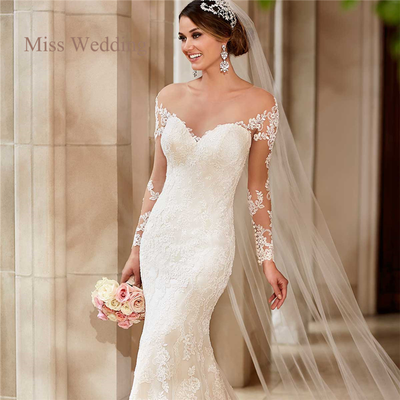 Long sleeve lace wedding dress vintage style white ivory for Vintage mermaid style wedding dresses