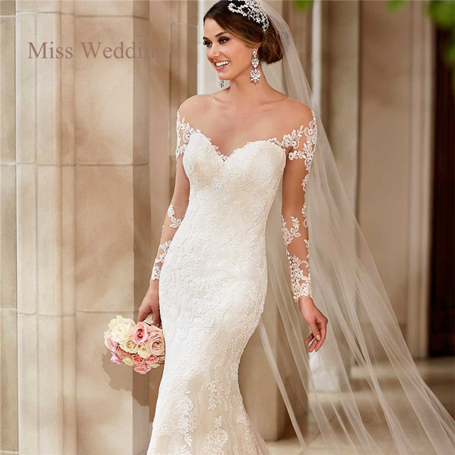 Long Sleeve Lace Wedding Dress Vintage Style White Ivory Sweetheart ...