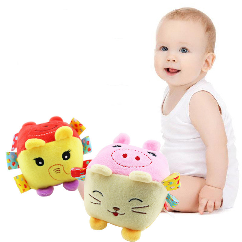 Baby Toys Cartoon Animal Cube 0-24 Month Learning Cognition Square Built-in Ring Newborns Kids Soft Cube Plush Bell Toy