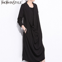 TWOTWINSTYLE 2017 Fall Ruffle Dress Female Midi Long Black Dresses For Women Elegant V Neck Three