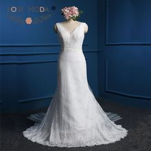 Rose Moda Sexy Deep V Neck Sheath Wedding Dress with Train