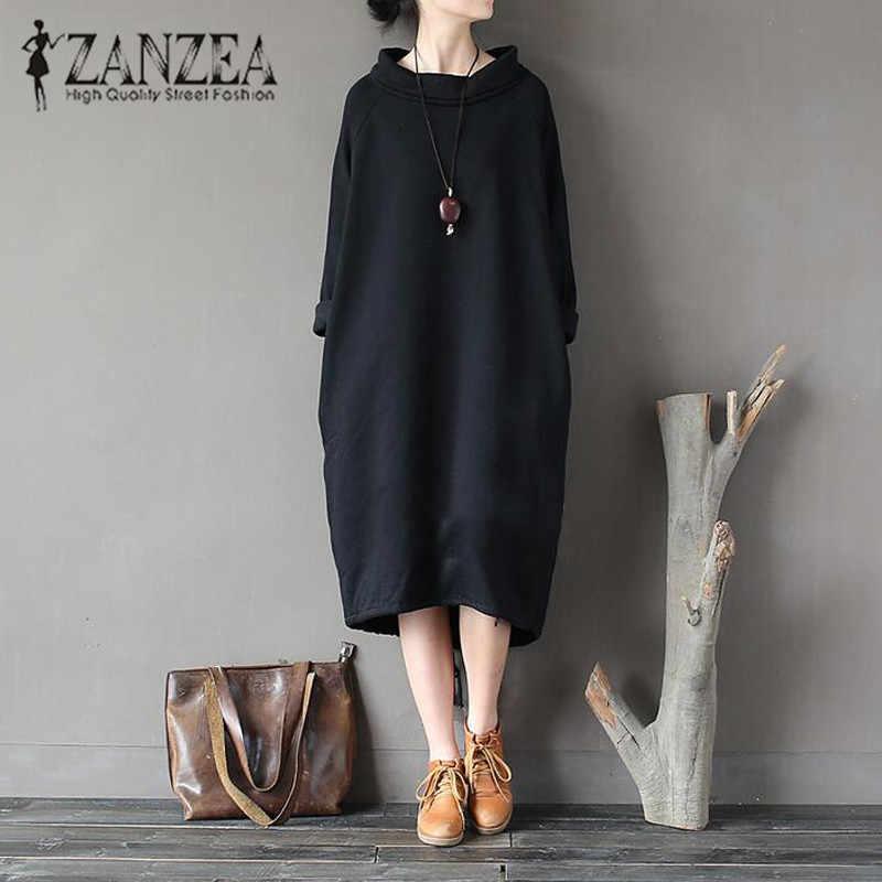 bdc12686e09 Плюс Размеры ZANZEA мода осень водолазка с длинным рукавом Длинная  толстовка платье Для женщин Повседневное одноцветное