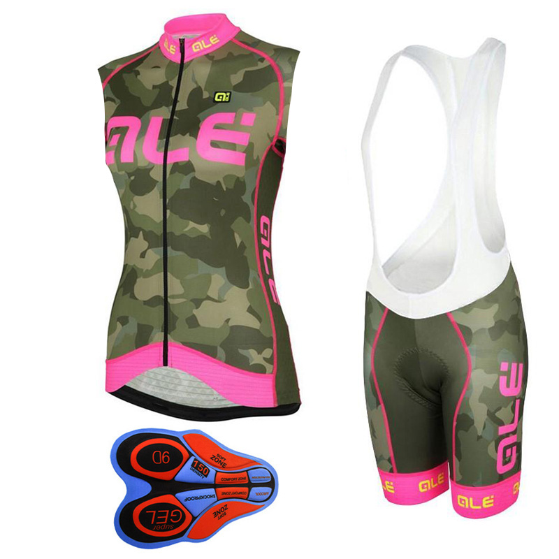 2018 New Ale women jersey sleeveless Bicycle clothing fast dry Mtb bike cycling bib shorts pad set Ropa Ciclismo