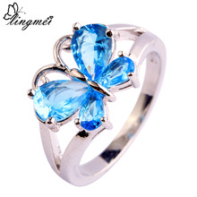 New Jewelry Pear Cut Shiny Blue Topaz 925 Silver Ring Size 6 7 8 9 10 11 Beautiful Butterfly For Women's