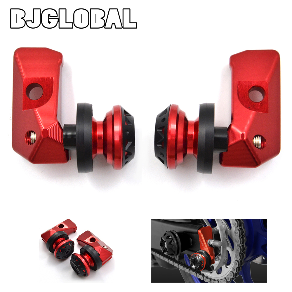 ФОТО CNC Motorcycle Rear Fork Adjustment Code Rear Axle Spindle Chain Adjuster Blocks with Spool Sliders For Yamaha YZF R25 YZF R3
