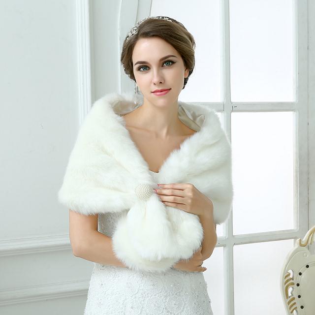 Invierno 2016 otoño moda nupcial de marfil Faux Fur cabo del abrigo mantón de las chaquetas 2015 Wrap Tippet accesorio nupcial ZY04