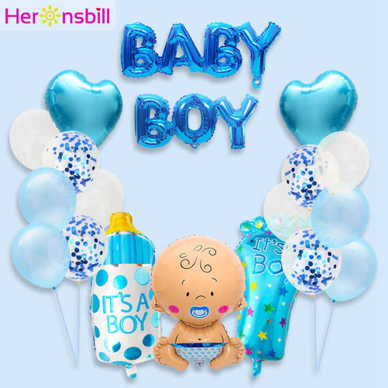 19pcs Baby Shower Foil Balloons Birthday Party Decorations Its A Boy Girl Gender Reveal Supplies BabyShower 12inch Latex Balls