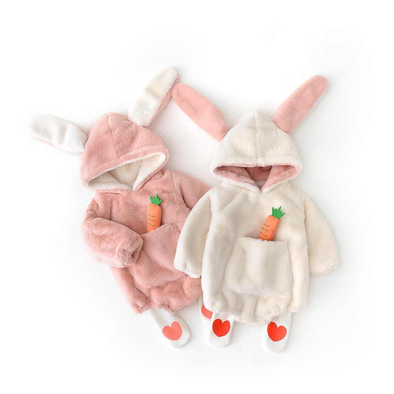 Осенне-зимний модный однотонный теплый комбинезон с кроликом + комбинезон с длинными рукавами для маленьких мальчиков и девочек детские комбинезоны