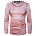 2017 nuevos hombres 3d t-shirt de manga larga o cuello hombre rosa camisetas de alta calidad de la marca de clothing camiseta de los hombres