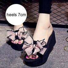 Flip Flops Bow Summer Fashion Women Sandals Platform Wedges Sandals For Women Sandal Beach Shoes Women Slippers Heel 2017