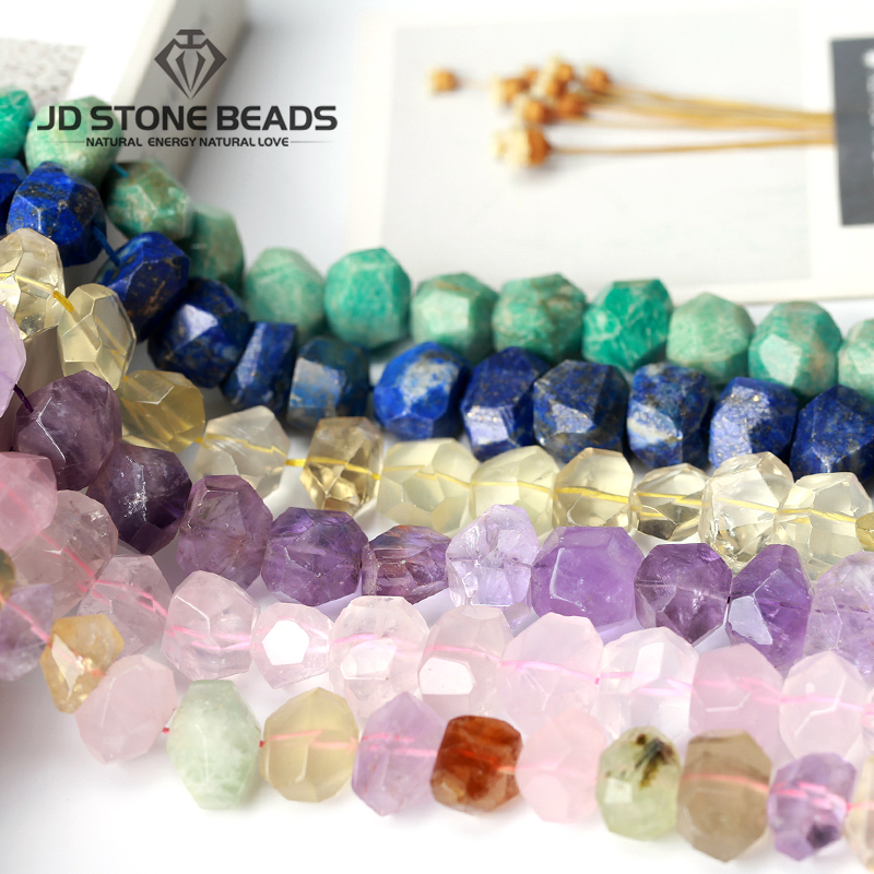 New Design Natural Stone Slice Point Beads Necklace Raw Aquamarines Amethysts