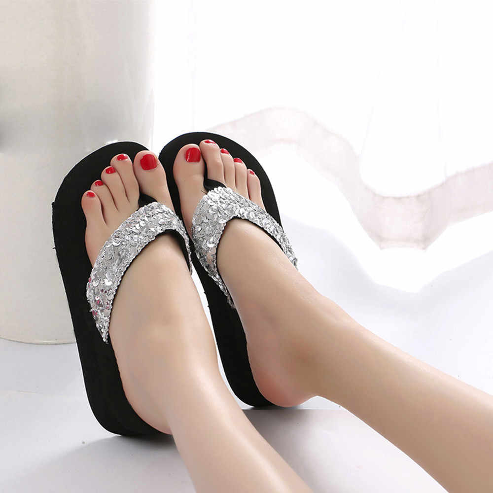 Frauen schuhe Sommer Shiny Pailletten Anti-Slip Sandalen Slipper Indoor & Outdoor Flip-Flops zapatos de mujer damen schuhe