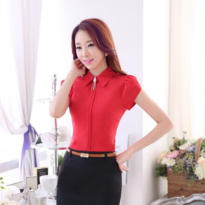 Moda verão vermelho blusas mulheres trabalho desgaste de