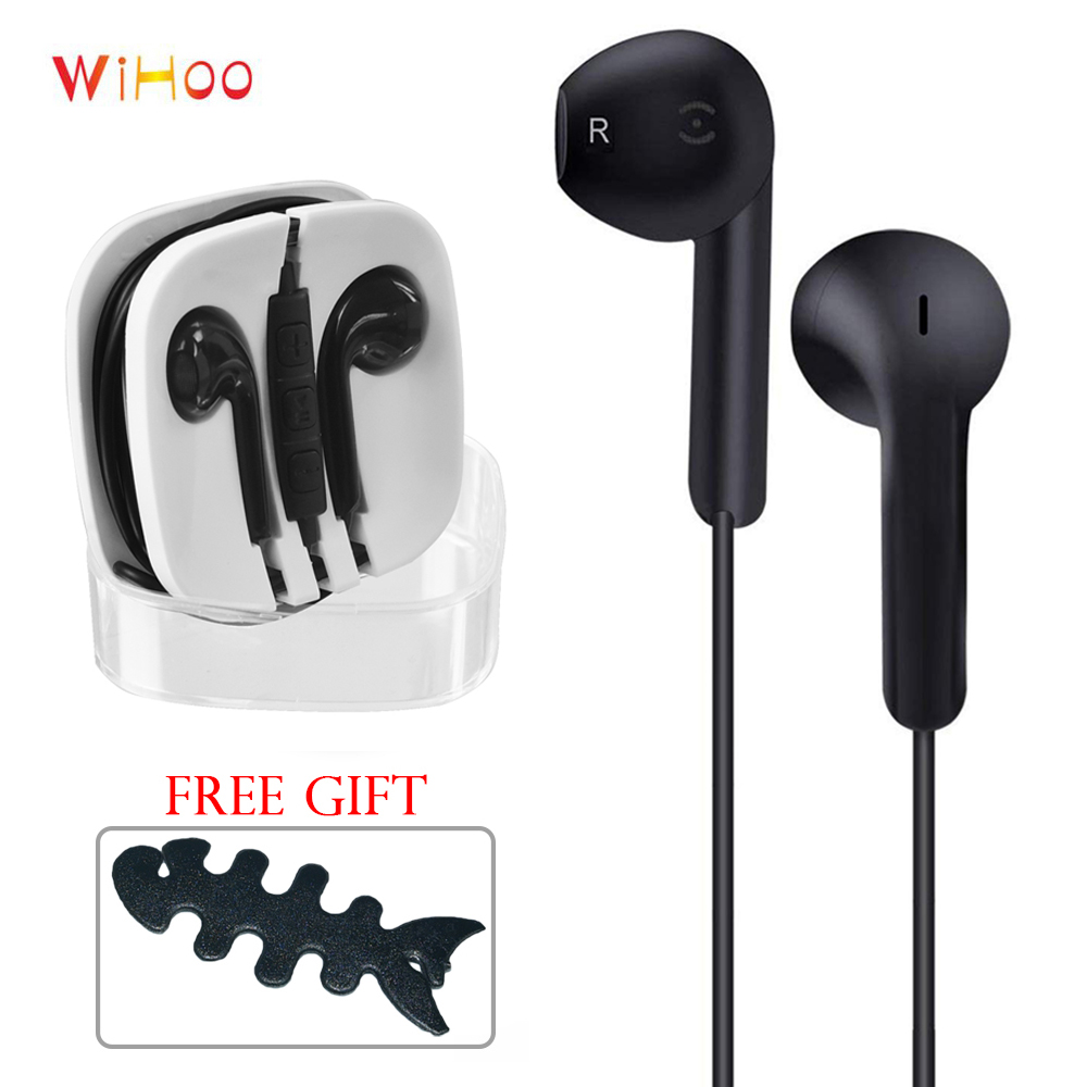 WiHoo Sport In-ear Earphone Wired Headset Earbud with Microphone For Huawei Xiaomi iPhone Samsung S4 S5 S6 S7 S8(China)