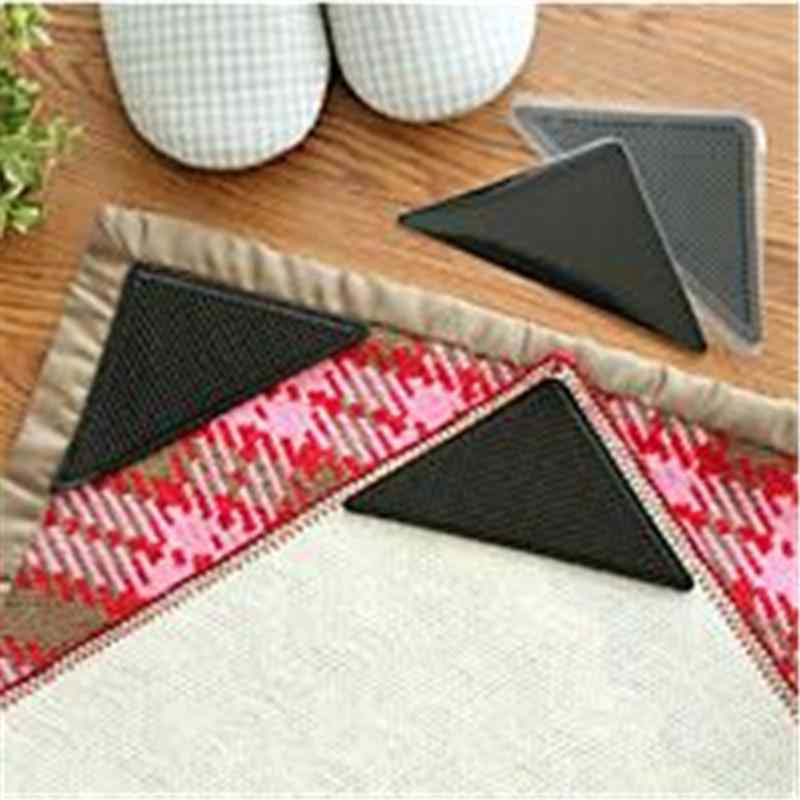 2pairs Non Slip Rug Carpet Mat Grippers Anti Skid Corners Pad For Bathroom Kitchen Living