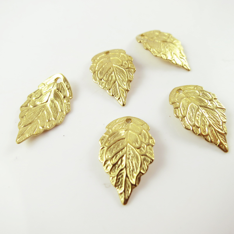 100 Antiqued Copper Plated Brass Leaf Drop Charms Leaves