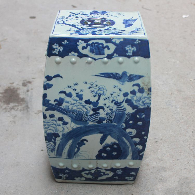 Garden Porcelain Chinese Garden Stools Ceramic Toilet Stool Jingdezhen  Bathroom Blue And White Dressing Chinese Shoe