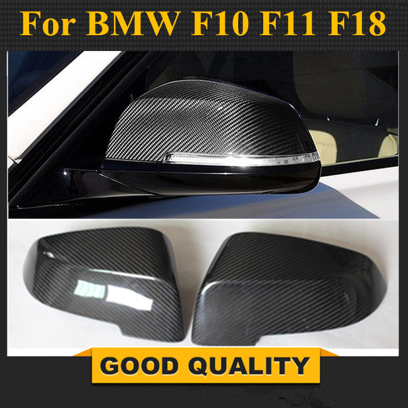 Carbon Fiber Replacement Car Side Rearview Mirror Covers Caps For <font><b>BMW</b></font> 5 Series F10 <font><b>F11</b></font> F18 2014 - 2016 7 Series F02 2010 - 2014 image