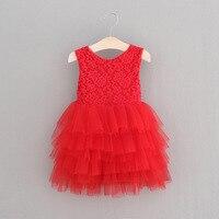 Nowy rok 2018 dziewczyny czerwone koronkowe sukienki dzieci tutu sukienka dzieci princess dress dziewczyny odzież bow sashes hurtownie 17120204