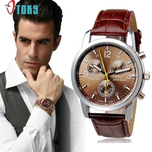 OTOKY Willby Men's Luxury Brown Faux Leather Quartz Watch 170328 Drop Shipping