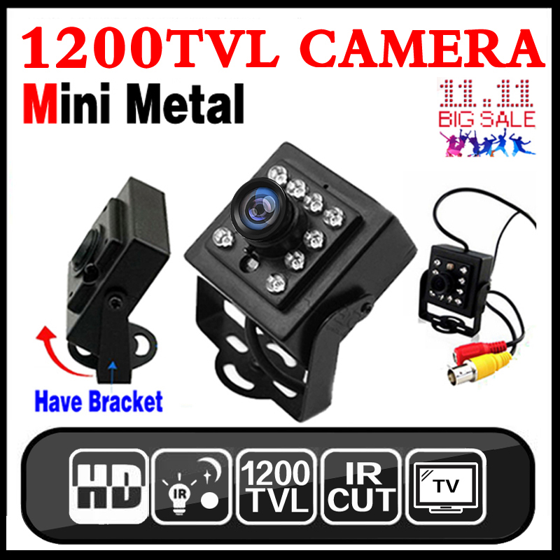 2017New Mini Night Vision Camera 1/3CMOS 1200TVL IR leds HD CCTV Security Surveillance Metal Bracket Indoor Color Analog Video 10 pcs ir led night vision 1 3 cmos 1200tvl mini analog security box cctv camera install into atm machine
