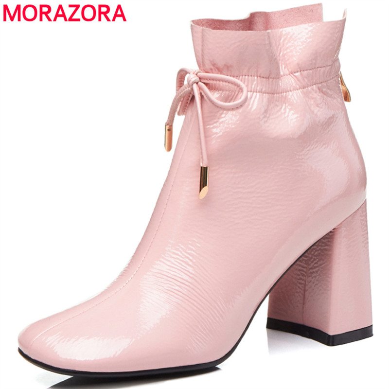 MORAZORA 2020 pink newest ankle boots for women top quality patent leather boots autumn winter elegant fashion high heels shoes|Ankle Boots| |  - title=