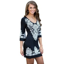 Lady Retro Ethnic Printed Dress Fashion Floral 3/4 Sleeve O-Neck Mini Dresses Women Clothes