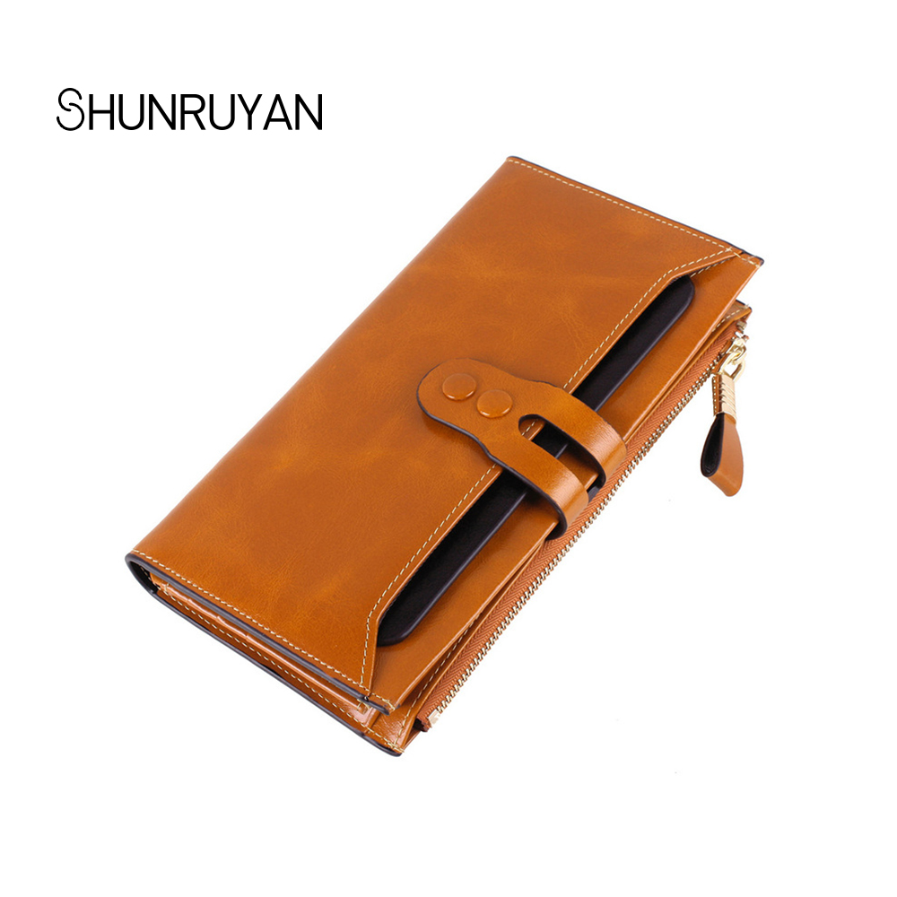 SHUNRUYAN New seven color Women Wallet Fashion Long Zipper Hasp Clutch Wallets Ms Cow Leather Multi-card bit purse Coin Purse