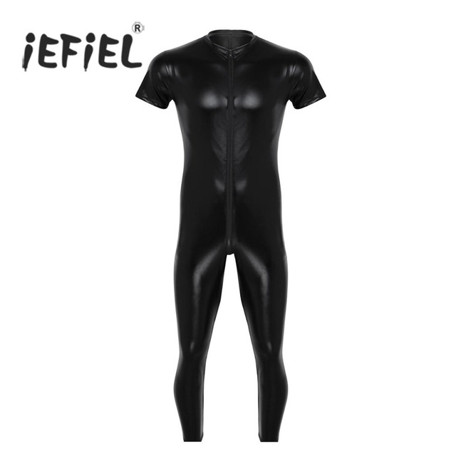 iEFiEL Mens Stretchy Faux Leather Short Sleeves Zipper Crotch Full Body Leotard Bodysuit Clubwear Overalls for Evening Party 1