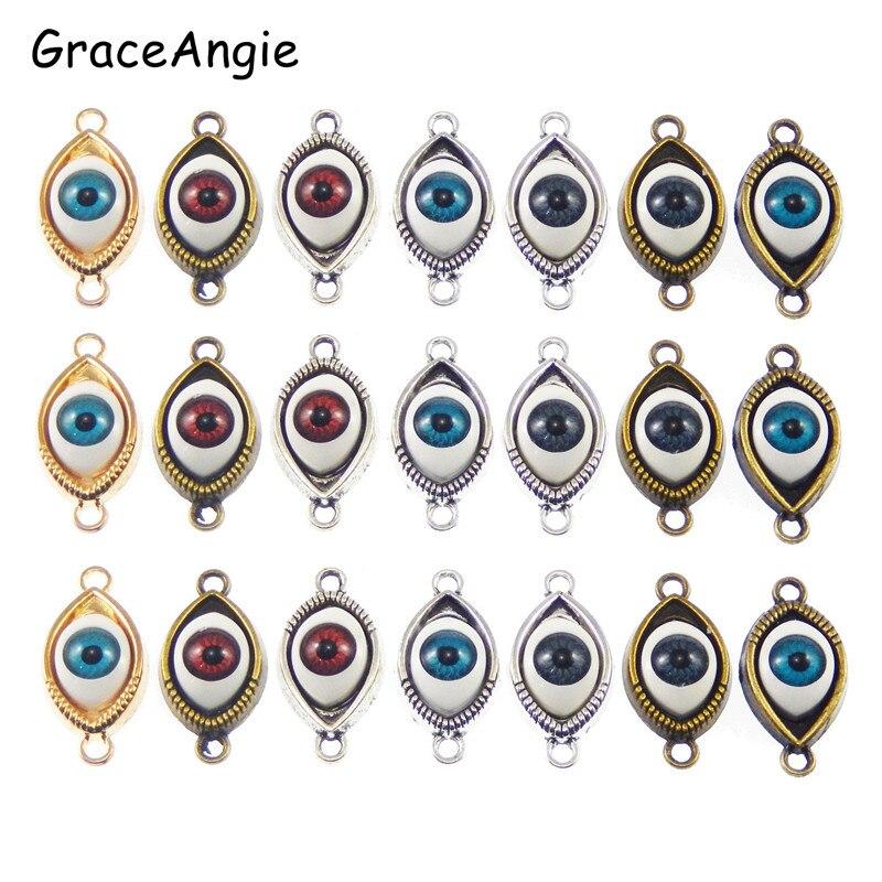 10pcs Evil Eye Charms bronze tone Evil Eye charm pendants Eye connector 30X15mm